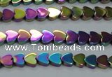 CHE995 15.5 inches 4*4mm heart plated hematite beads wholesale
