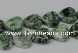 CHG38 15.5 inches 12*12mm heart green spot jasper beads wholesale
