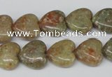 CHG45 15.5 inches 14*14mm heart New unakite gemstone beads wholesale