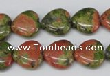 CHG48 15.5 inches 14*14mm heart unakite gemstone beads wholesale
