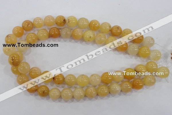CHJ06 15.5 inches 14mm round honey jade stone beads wholesale