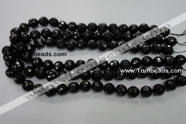 CHS47 15.5 inches 12mm faceted round natural hypersthene beads
