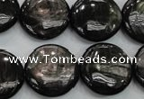 CHS65 15.5 inches 20mm flat round natural hypersthene beads