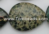 CIJ40 15.5 inches 30*40mm flat teardrop impression jasper beads wholesale