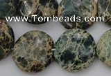 CIJ46 15.5 inches 20mm flat round impression jasper beads wholesale