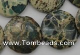CIJ47 15.5 inches 25mm flat round impression jasper beads wholesale