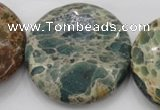 CIJ49 15.5 inches 40mm flat round impression jasper beads wholesale