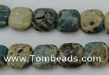 CIJ52 15.5 inches 12*12mm square impression jasper beads wholesale