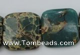 CIJ57 15.5 inches 25*25mm square impression jasper beads wholesale