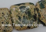 CIJ58 15.5 inches 30*30mm square impression jasper beads wholesale