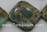 CIJ65 15.5 inches 30*30mm diamond impression jasper beads wholesale