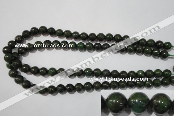 CIS03 15.5 inches 10mm round green iron stone beads wholesale