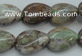 CJA04 15.5 inches 15*20mm teardrop green jasper beads wholesale