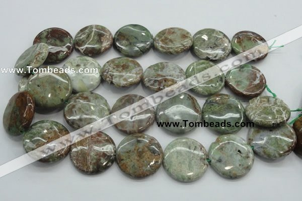 CJA08 15.5 inches 30mm coin green jasper beads wholesale