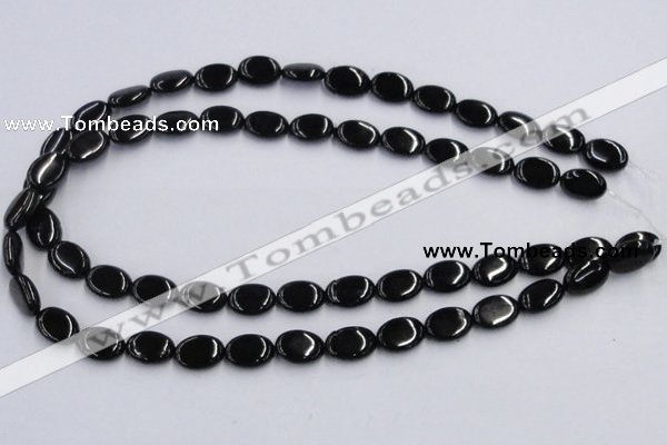 CJB17 16 inches 10*14mm oval natural jet gemstone beads wholesale