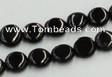 CJB20 16 inches 10mm flat round natural jet gemstone beads wholesale