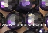 CJB203 15.5 inches 10mm faceted round jet beads wholesale