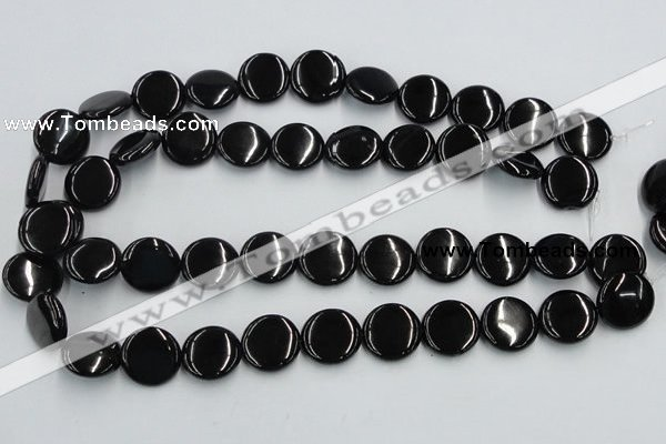 CJB22 16 inches 18mm flat round natural jet gemstone beads wholesale