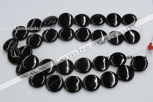 CJB23 16 inches 25mm flat round natural jet gemstone beads wholesale