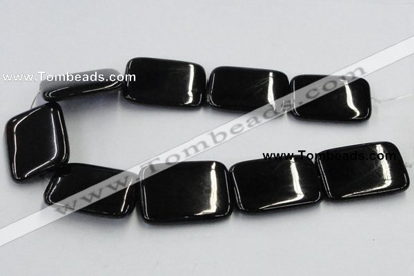 CJB28 16 inches 30*40mm rectangle natural jet gemstone beads wholesale