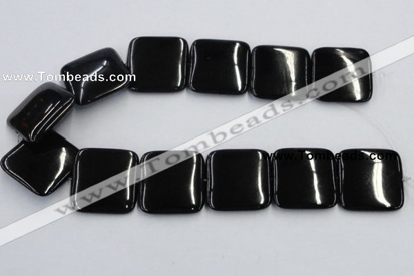 CJB30 16 inches 30*30mm square natural jet gemstone beads wholesale