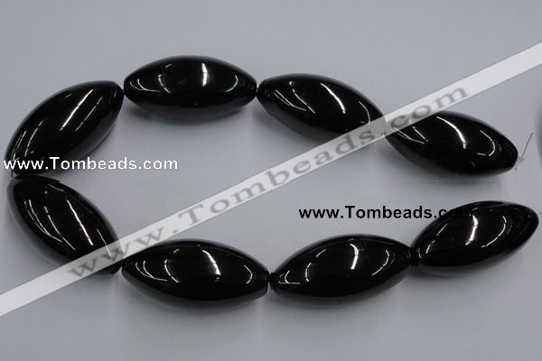 CJB38 16 inches 25*50mm rice natural jet gemstone beads
