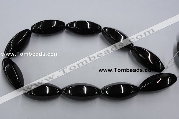 CJB39 16 inches 18*40mm faceted rice natural jet gemstone beads