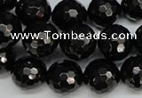 CJB46 15.5 inches 14mm faceted round natural jet gemstone beads