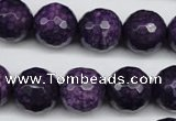 CJJ16 15 inches 14mm faceted round dyed lucky jade beads