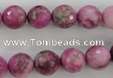 CJJ25 15.5 inches 12mm faceted round dyed lucky jade beads