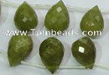CKA121 Top-drilled 12*17mm faceted teardrop Korean jade beads