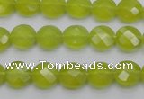 CKA265 15.5 inches 10mm faceted coin Korean jade gemstone beads