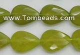 CKA275 15.5 inches 15*20mm faceted flat teardrop Korean jade gemstone beads