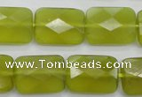 CKA282 15.5 inches 15*20mm faceted rectangle Korean jade gemstone beads
