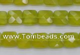 CKA285 15.5 inches 10*10mm faceted square Korean jade gemstone beads