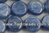 CKC514 15.5 inches 14mm flat round natural Brazilian kyanite beads