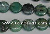 CKC60 15.5 inches 14mm flat round natural green kyanite beads
