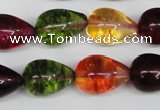CKQ110 15.5 inches 12*18mm teardrop dyed crackle quartz beads