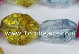 CKQ119 15.5 inches 16*26mm faceted nuggets dyed crackle quartz beads