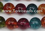 CKQ35 15.5 inches 14mm round dyed crackle quartz beads wholesale