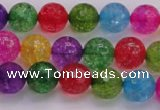 CKQ351 15.5 inches 8mm faceted round dyed crackle quartz beads