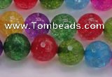 CKQ353 15.5 inches 12mm faceted round dyed crackle quartz beads