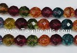 CKQ42 15.5 inches 8mm faceted round dyed crackle quartz beads