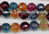 CKQ43 15.5 inches 10mm faceted round dyed crackle quartz beads