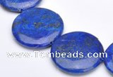 CLA21 coin deep blue dyed lapis lazuli 25mm gemstone beads