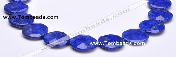 CLA48 Faceted coin 25*25mm deep blue dyed lapis lazuli beads