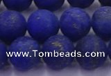 CLA74 15.5 inches 12mm round matte lapis lazuli beads wholesale