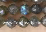 CLB1080 15.5 inches 6mm faceted nuggets labradorite beads