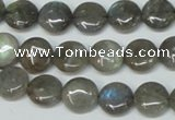 CLB168 15.5 inches 12mm flat round labradorite gemstone beads