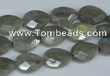 CLB184 15.5 inches 10*14mm faceted flat teardrop labradorite beads